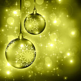 Background with Christmas baubles and snowflakes Royalty Free Stock Photo