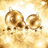 Background with Christmas golden baubles Stock Images