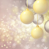 Background with Christmas baubles Stock Photo
