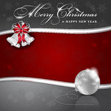 Background with Christmas bells and ball Stock Images
