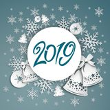 Background with Christmas bells, bow and snowflakes. 2019 Abstract Christmas background. Winter frame with snowflakes over blue background stock illustration