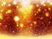 Background christmas gold ball red yellow snow stars decorations blur illustration new year Royalty Free Stock Images