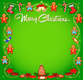 Background Christmas with cakes sweets and tinsel Stock Photography