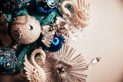 Background for Christmas card with blue and silver toys royalty free stock photo