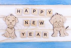 Background for a Christmas card. Happy New Year wooden card. Winter greetings royalty free stock photos