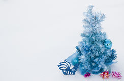 Background for Christmas cards. Background of artificial pine needles closeup Stock Image