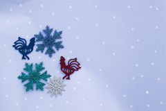 Background for Christmas cards. Background of artificial pine needles closeup Stock Photography