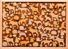 Background with Christmas cookies gingerbread. Gingerbread in the shape of animals, stars and hearts. Royalty Free Stock Photo