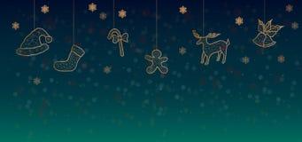 Background Christmas decorate dark green color stock illustration