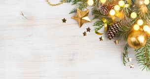Background of Christmas decoration and glitters, copy space on side royalty free stock image