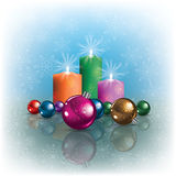 Background with Christmas decorations and candles Royalty Free Stock Photography