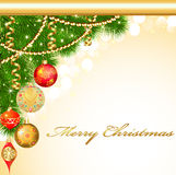 Background Christmas with decorative balls and fir Stock Image