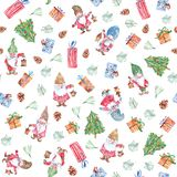 Watercolor Christmas seamless pattern with gnomes, gift and christmas trees, backgrounds royalty free stock photo