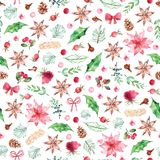 Watercolor Christmas seamless pattern with spices, Christmas flowers, roses, berries on white background stock image