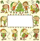 Background with christmas elves - Illustration Royalty Free Stock Images
