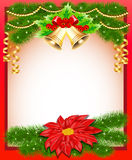 Background Christmas with flower bells and fir bra Royalty Free Stock Photo