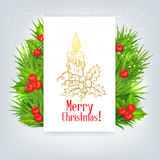 Background with Christmas holly and candle Royalty Free Stock Image