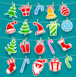 Background with Christmas icons Royalty Free Stock Photos