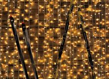 Background, christmas lights and skies Royalty Free Stock Photography