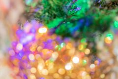 Background for Christmas and New Year, bokeh fir lights stock images