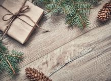 background for Christmas. New year tree with gifts, holiday decoration on dark wooden board. New Year and Christmas background. Ho royalty free stock photo
