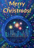 Background with Christmas Night City Stock Photos