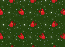 Background Christmas. Red Christmas spheres, snowflakes and bows Stock Images