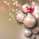 Background with Christmas silver baubles. Abstract background with Christmas silver baubles, bow and stars Stock Photography