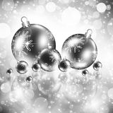 Background with Christmas silver baubles. And snowflakes, illustration royalty free illustration