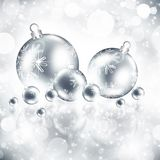 Background with Christmas silver baubles. And snowflakes, illustration Royalty Free Stock Photography