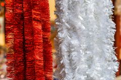 Christmas streamers decorations. Background of christmas streamers decorations stock photo