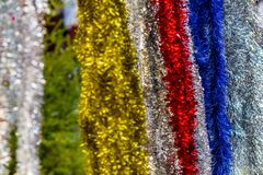 Christmas streamers decorations. Background of christmas streamers decorations royalty free stock photos