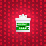 Background with Christmas symbol pattern. Elegant  white box with word sale Stock Image