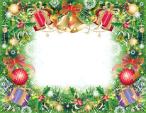 Background with christmas symbols. Green, gold and red background with christmas symbols - balls, bells, holly and gift box Stock Photos