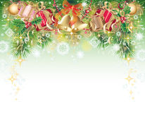Background with christmas symbols. Green, gold and red background with christmas symbols - balls, bells, holly and gift box Stock Photography