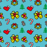 Background with Christmas symbols Pixel art Blue color. Background with Christmas symbols Pixel art Winter pattern Stock Images