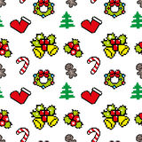 Background with Christmas symbols Pixel art r. Background with Christmas symbols Pixel art Winter pattern Stock Photo