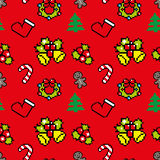 Background with Christmas symbols Pixel art  Red color. Background with Christmas symbols Pixel art Winter pattern Royalty Free Stock Image