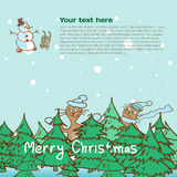 Background for a Christmas theme with snowman and cats Royalty Free Stock Photography