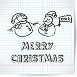 Background for a Christmas theme with snowmen Royalty Free Stock Photo