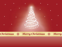 Background with Christmas tree. Red background with Christmas tree and congratulation ribbon Stock Images
