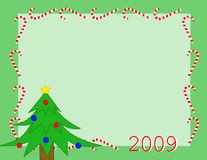 Background with christmas tree. On green Royalty Free Stock Image