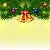 Background with Christmas tree, bells and balls Royalty Free Stock Photo