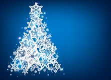 Background with christmas tree. Blue background with christmas tree. Vector paper illustration Royalty Free Stock Image