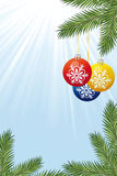 Background with Christmas tree branch and toys Royalty Free Stock Images
