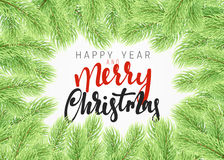Background Christmas tree branches border. Stock Photo