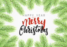 Background Christmas tree branches border. Stock Images