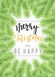 Background Christmas tree branches border. Stock Photography