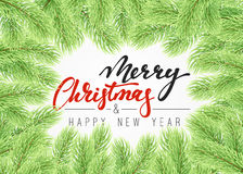 Background Christmas tree branches border. Royalty Free Stock Images