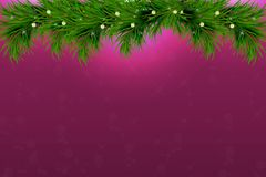 Background with christmas tree branches and space for text. Realistic fir-tree border, frame on sparkling background for christmas. Background with vector Royalty Free Stock Photos